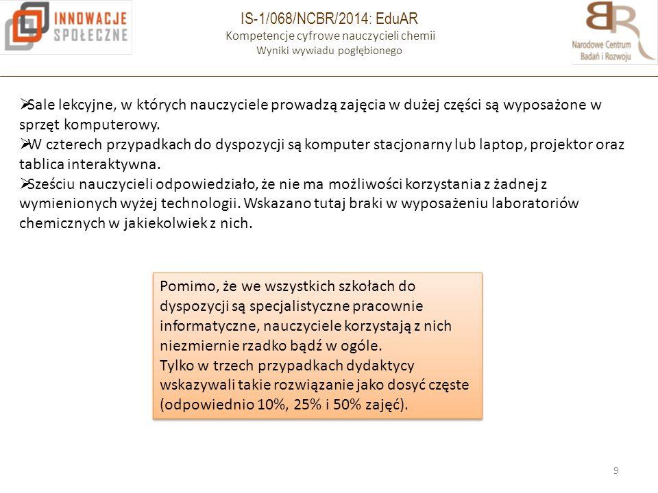 IS-1/068/NCBR/2014: EduAR Kompetencje cyfrowe nauczycieli chemii Wyniki wywiadu pogłębionego 9  Sale lekcyjne, w których nauczyciele prowadzą zajęcia