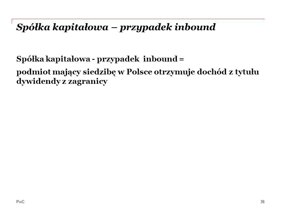 PwC Spółka kapitałowa – przypadek inbound Spółka kapitałowa - przypadek inbound = podmiot mający siedzibę w Polsce otrzymuje dochód z tytułu dywidendy