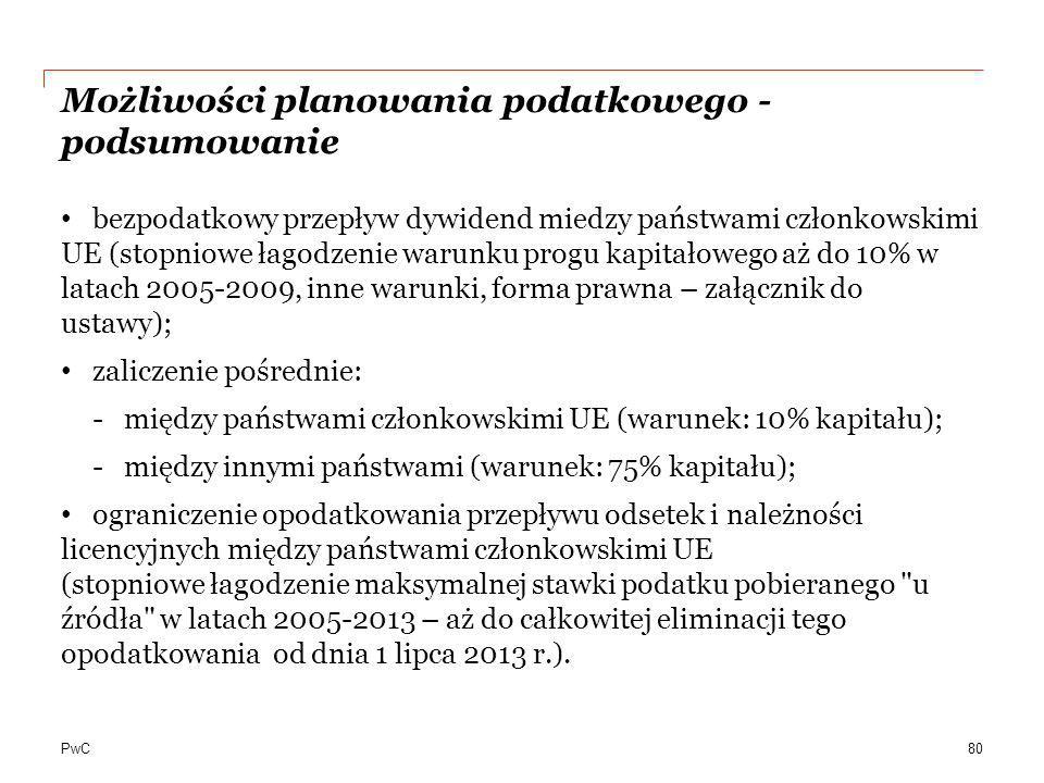 PwC Możliwości planowania podatkowego - podsumowanie bezpodatkowy przepływ dywidend miedzy państwami członkowskimi UE (stopniowe łagodzenie warunku pr