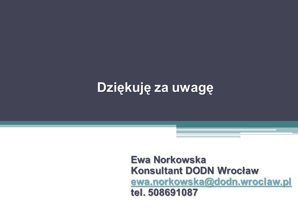 Dziękuję za uwagę Ewa Norkowska Konsultant DODN Wrocław ewa.norkowska@dodn.wroclaw.pl tel.