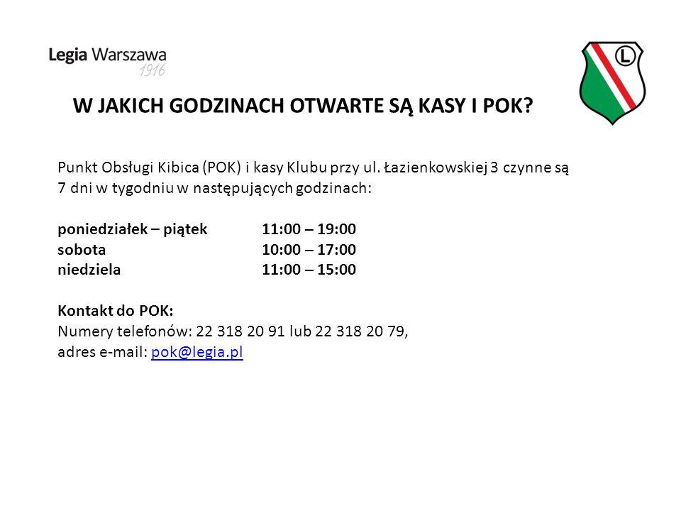 W JAKICH GODZINACH OTWARTE SĄ KASY I POK. Punkt Obsługi Kibica (POK) i kasy Klubu przy ul.