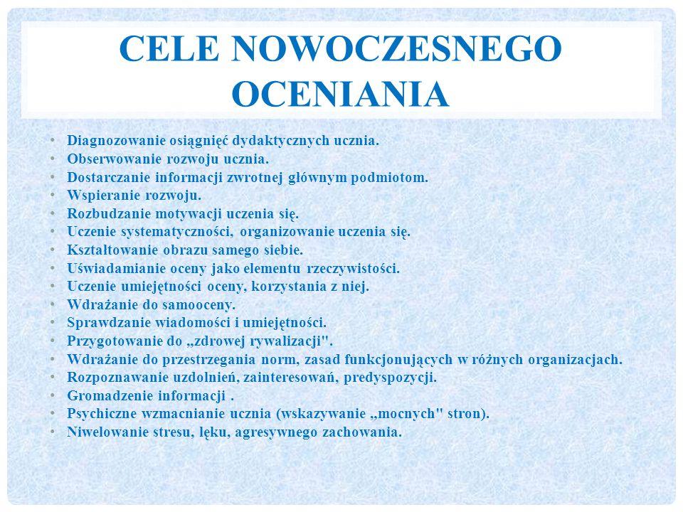 CELE NOWOCZESNEGO OCENIANIA Diagnozowanie osiągnięć dydaktycznych ucznia.