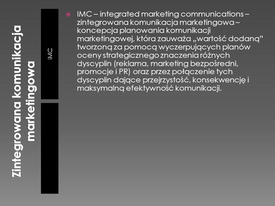 """IMC  IMC – integrated marketing communications – zintegrowana komunikacja marketingowa – koncepcja planowania komunikacji marketingowej, która zauważa """"wartość dodaną tworzoną za pomocą wyczerpujących planów oceny strategicznego znaczenia różnych dyscyplin (reklama, marketing bezpośredni, promocje i PR) oraz przez połączenie tych dyscyplin dające przejrzystość, konsekwencję i maksymalną efektywność komunikacji."""