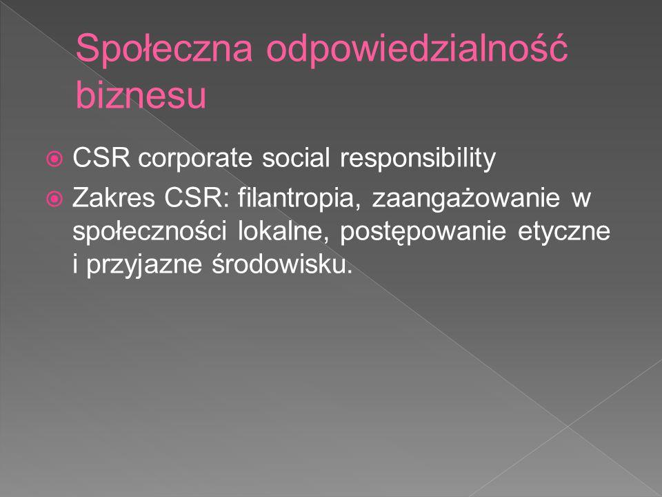 CSR corporate social responsibility  Zakres CSR: filantropia, zaangażowanie w społeczności lokalne, postępowanie etyczne i przyjazne środowisku.