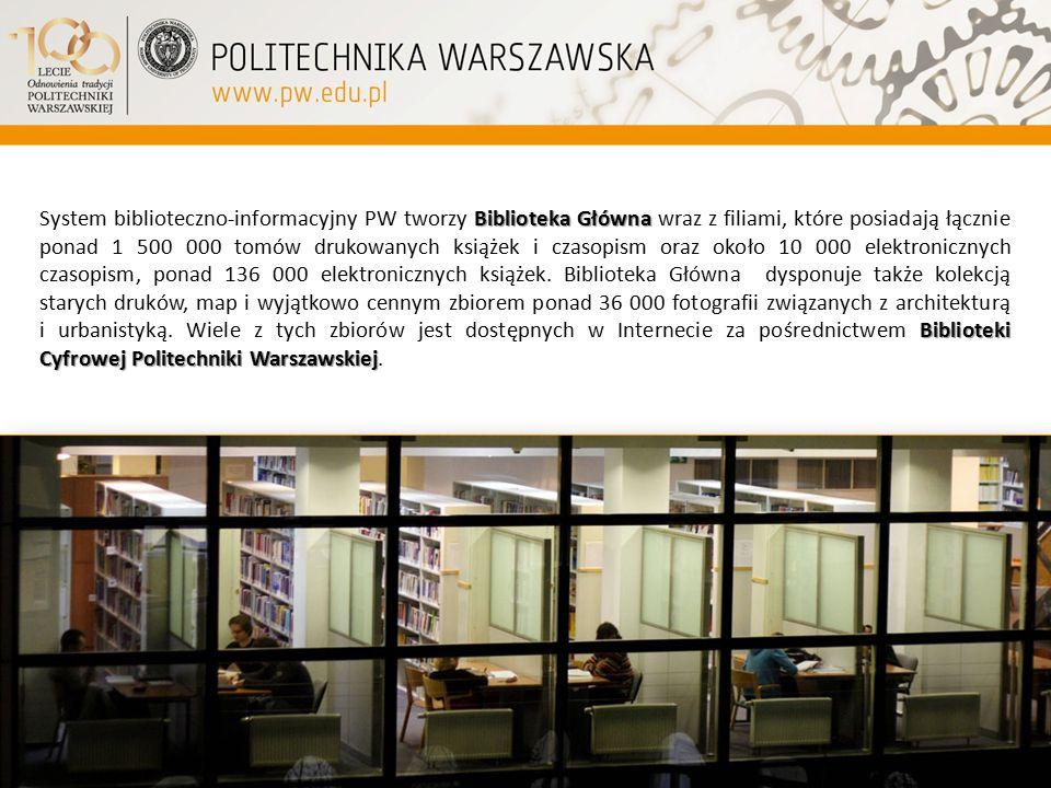 Biblioteka Główna Biblioteki Cyfrowej Politechniki Warszawskiej System biblioteczno-informacyjny PW tworzy Biblioteka Główna wraz z filiami, które pos