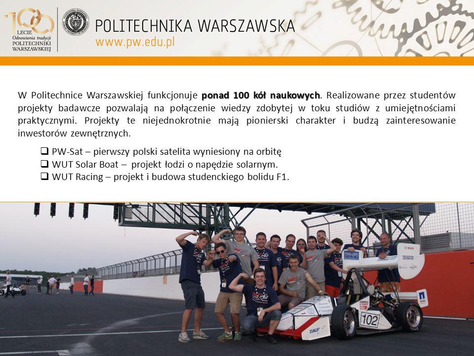 ponad 100 kół naukowych W Politechnice Warszawskiej funkcjonuje ponad 100 kół naukowych. Realizowane przez studentów projekty badawcze pozwalają na po