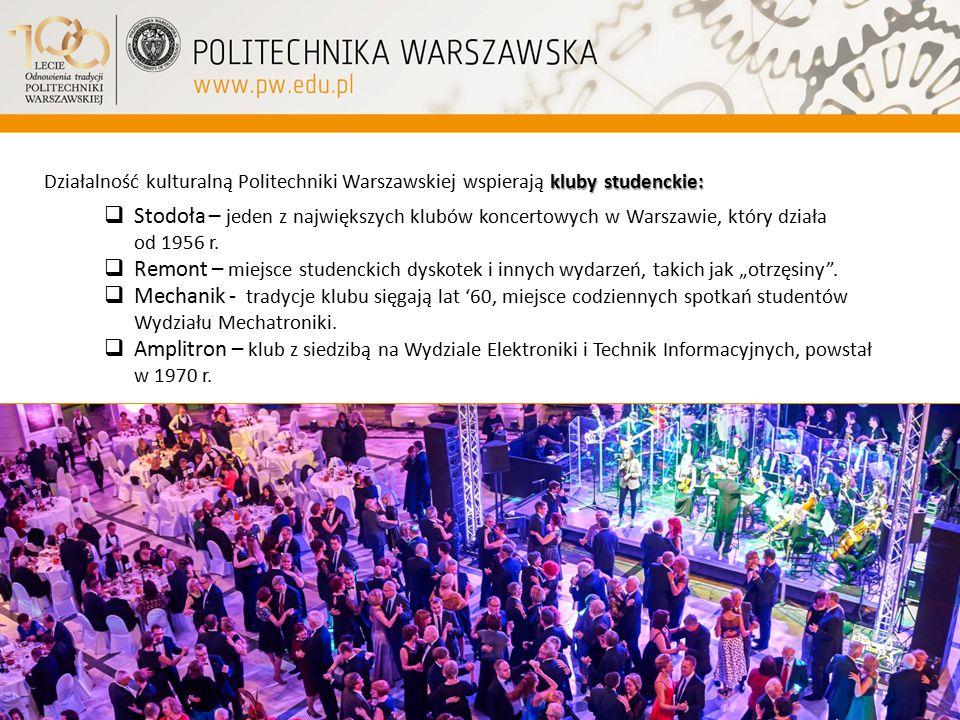 kluby studenckie: Działalność kulturalną Politechniki Warszawskiej wspierają kluby studenckie:  Stodoła – jeden z największych klubów koncertowych w