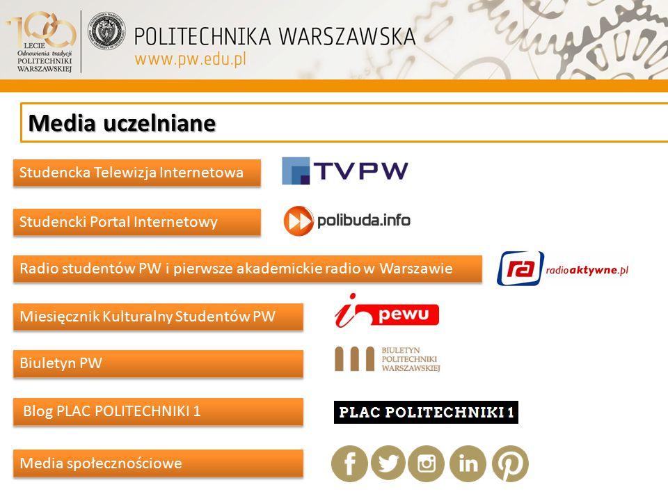 Media uczelniane Miesięcznik Kulturalny Studentów PW Studencka Telewizja Internetowa Studencki Portal Internetowy Radio studentów PW i pierwsze akadem