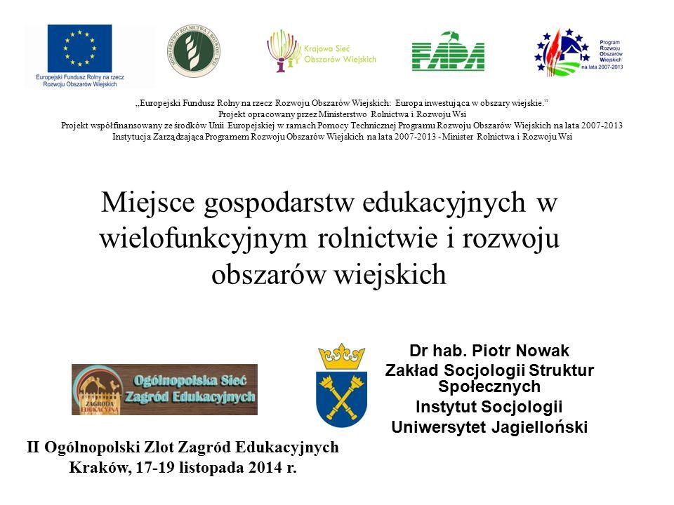 Miejsce gospodarstw edukacyjnych w wielofunkcyjnym rolnictwie i rozwoju obszarów wiejskich Dr hab.