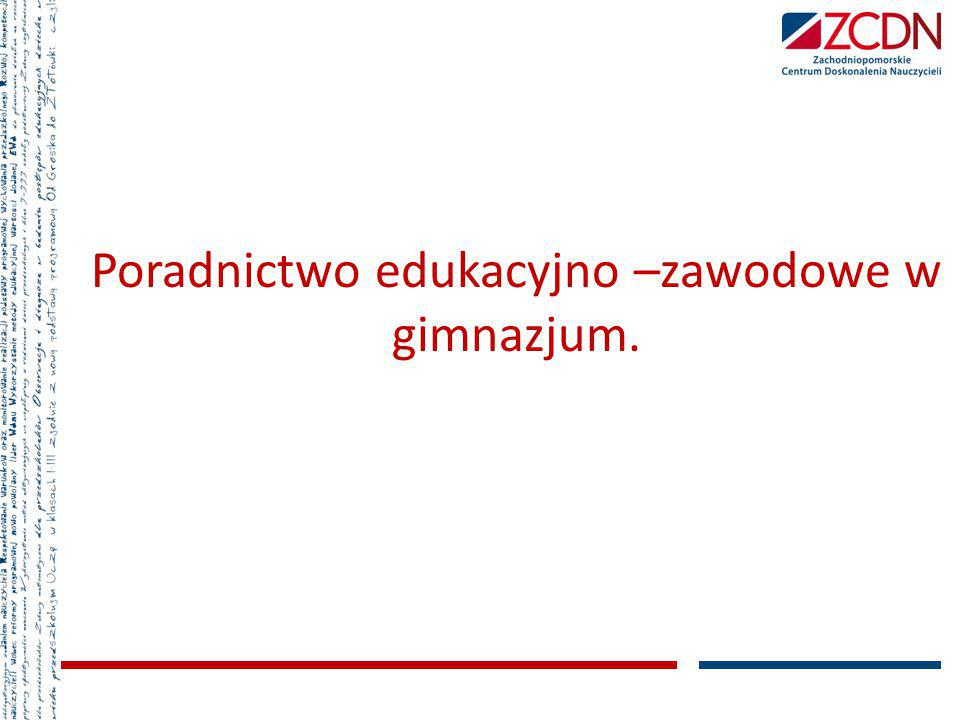 4) koordynowanie działalności informacyjno- doradczej prowadzonej przez szkołę i placówkę; 5) współpraca z innymi nauczycielami w tworzeniu i zapewnieniu ciągłości działań w zakresie doradztwa edukacyjno--zawodowego; 6) wspieranie nauczycieli, wychowawców grup wychowawczych i innych specjalistów w udzielaniu pomocy psychologiczno pedagogicznej.
