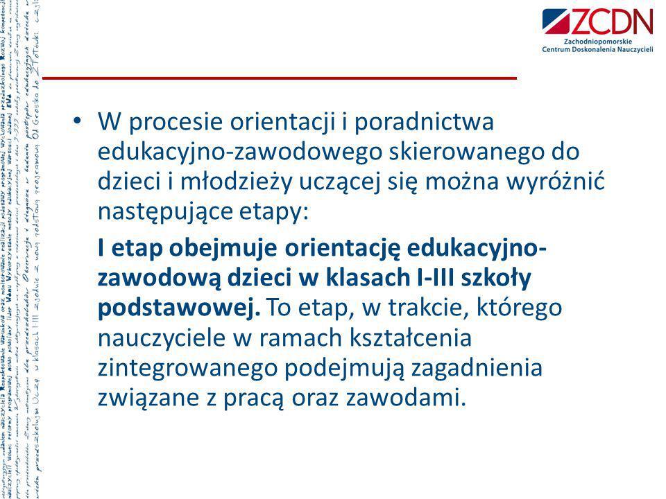 W procesie orientacji i poradnictwa edukacyjno-zawodowego skierowanego do dzieci i młodzieży uczącej się można wyróżnić następujące etapy: I etap obej