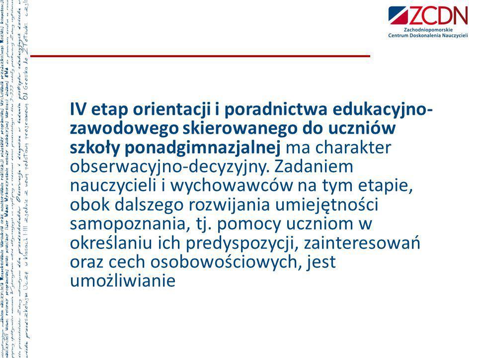 IV etap orientacji i poradnictwa edukacyjno- zawodowego skierowanego do uczniów szkoły ponadgimnazjalnej ma charakter obserwacyjno-decyzyjny. Zadaniem