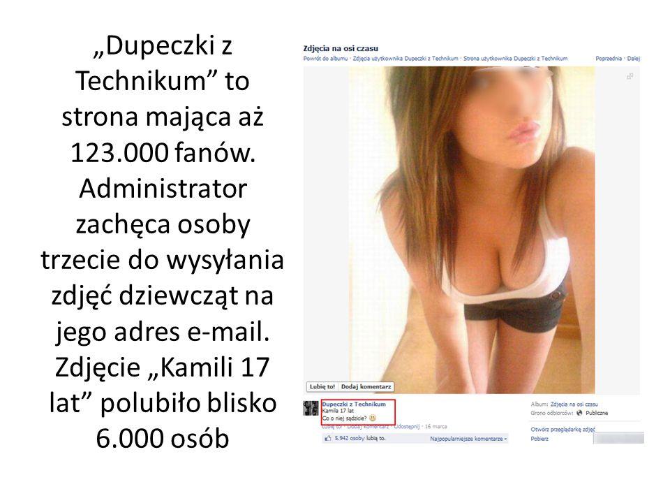 """""""Dupeczki z Technikum"""" to strona mająca aż 123.000 fanów. Administrator zachęca osoby trzecie do wysyłania zdjęć dziewcząt na jego adres e-mail. Zdjęc"""