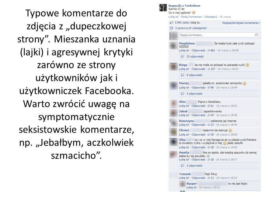 """Typowe komentarze do zdjęcia z """"dupeczkowej strony"""". Mieszanka uznania (lajki) i agresywnej krytyki zarówno ze strony użytkowników jak i użytkowniczek"""