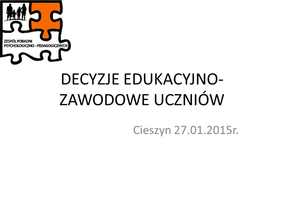 DECYZJE EDUKACYJNO- ZAWODOWE UCZNIÓW Cieszyn 27.01.2015r.