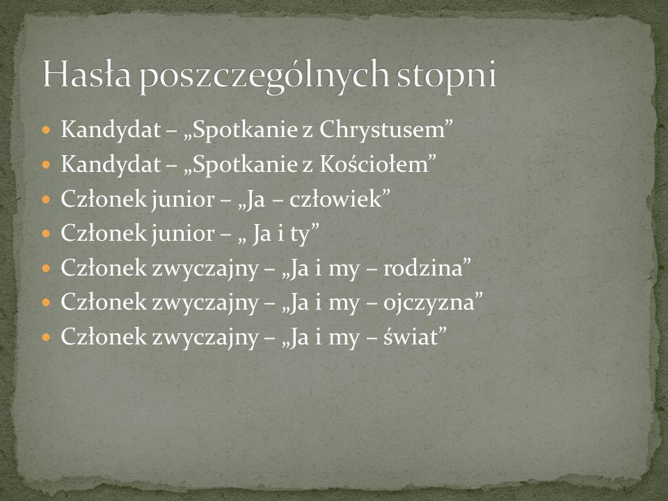 """Kandydat – """"Spotkanie z Chrystusem Kandydat – """"Spotkanie z Kościołem Członek junior – """"Ja – człowiek Członek junior – """" Ja i ty Członek zwyczajny – """"Ja i my – rodzina Członek zwyczajny – """"Ja i my – ojczyzna Członek zwyczajny – """"Ja i my – świat"""