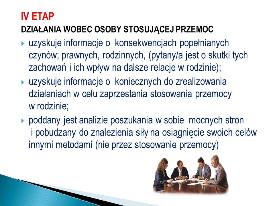 IV ETAP DZIAŁANIA WOBEC OSOBY STOSUJĄCEJ PRZEMOC  uzyskuje informacje o konsekwencjach popełnianych czynów; prawnych, rodzinnych, (pytany/a jest o sk