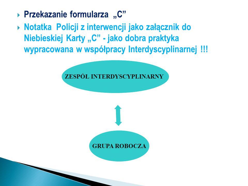 """ Przekazanie formularza """"C""""  Notatka Policji z interwencji jako załącznik do Niebieskiej Karty """"C"""" - jako dobra praktyka wypracowana w współpracy In"""