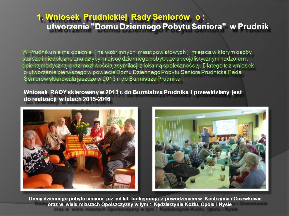 1. Wniosek Prudnickiej Rady Seniorów o : utworzenie