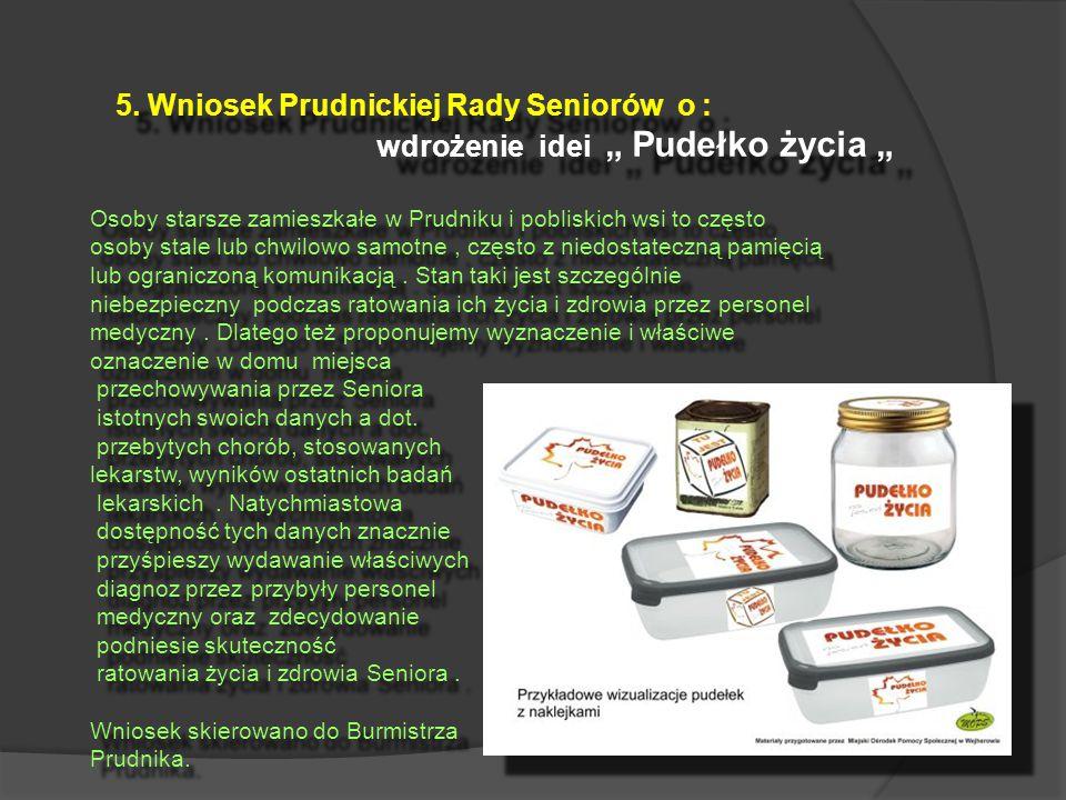 """6.Propozycja Prudnickiej Rady Seniorów dot : upowszechnienia programu """" Czerwony guzik """"."""