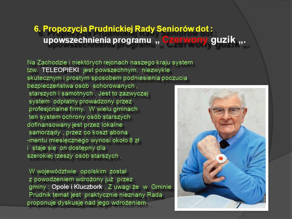 """6. Propozycja Prudnickiej Rady Seniorów dot : upowszechnienia programu """" Czerwony guzik """"."""
