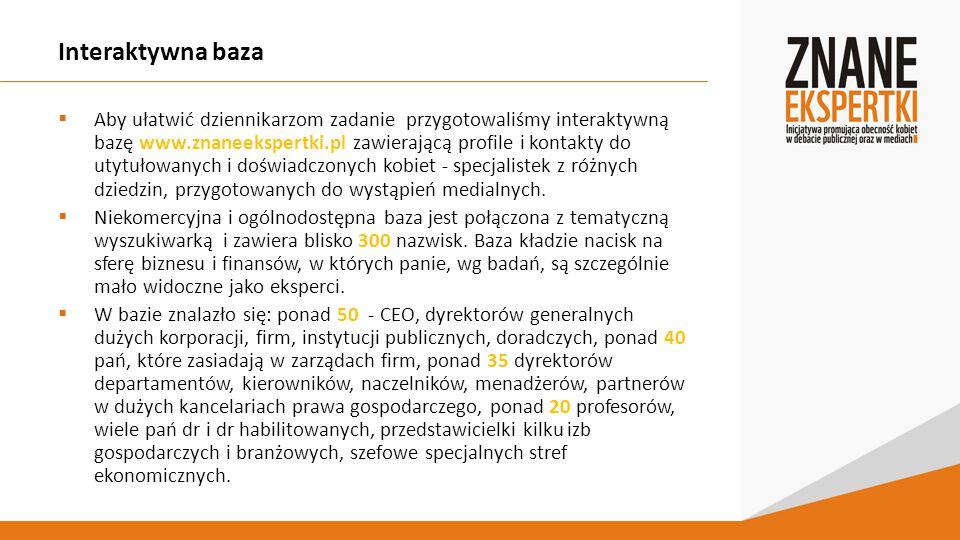 Interaktywna baza  Aby ułatwić dziennikarzom zadanie przygotowaliśmy interaktywną bazę www.znaneekspertki.pl zawierającą profile i kontakty do utytułowanych i doświadczonych kobiet - specjalistek z różnych dziedzin, przygotowanych do wystąpień medialnych.