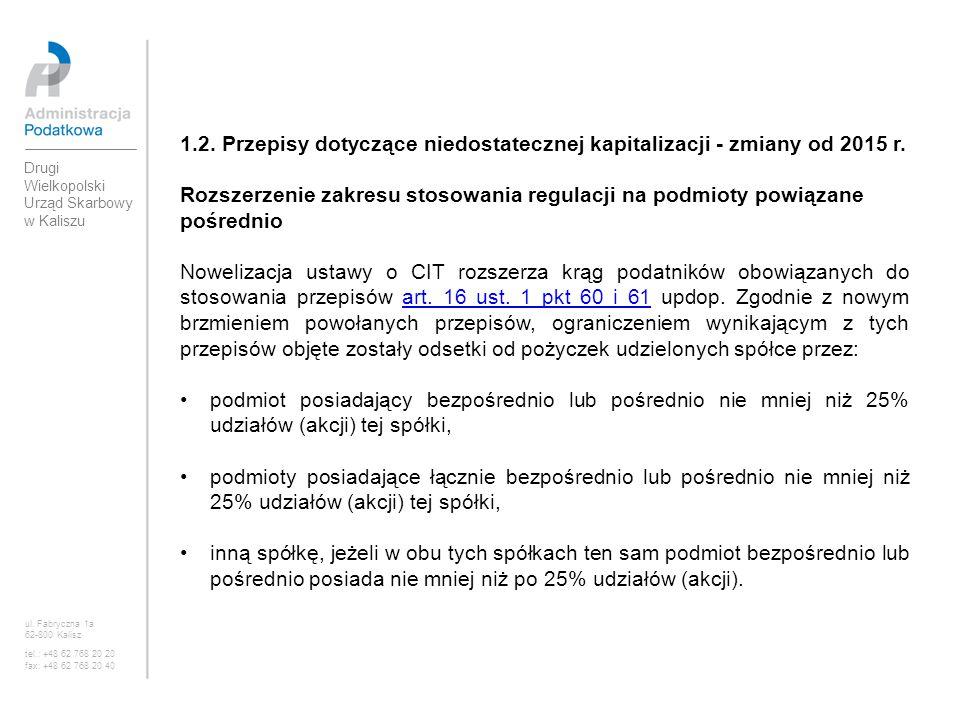 1.2. Przepisy dotyczące niedostatecznej kapitalizacji - zmiany od 2015 r. Rozszerzenie zakresu stosowania regulacji na podmioty powiązane pośrednio No