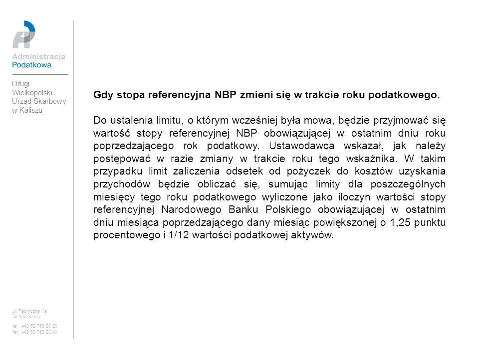 Gdy stopa referencyjna NBP zmieni się w trakcie roku podatkowego. Do ustalenia limitu, o którym wcześniej była mowa, będzie przyjmować się wartość sto