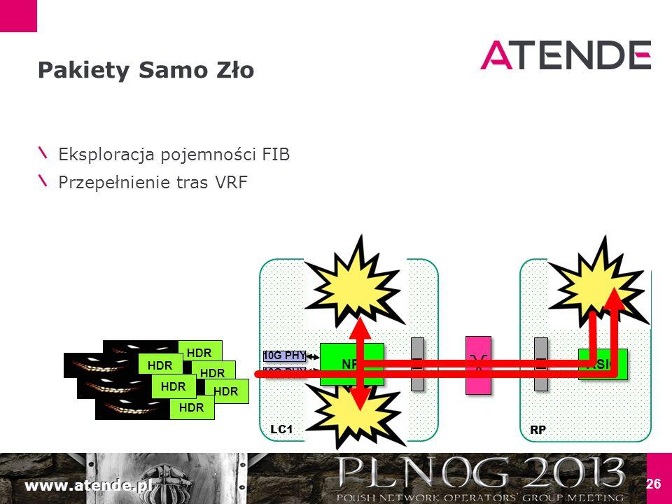 www.atende.pl TCAM LC1 26 Pakiety Samo Zło Eksploracja pojemności FIB Przepełnienie tras VRF NP 10G PHY LC CPU RP FI ASIC RP CPU FI HDR