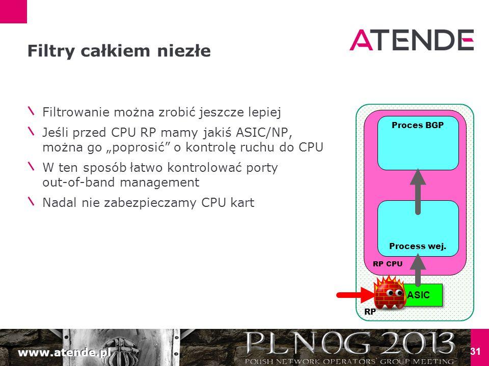 www.atende.pl 31 Filtry całkiem niezłe RP ASIC RP CPU Process wej.