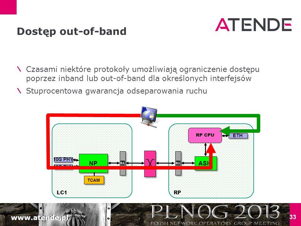 www.atende.pl 33 Dostęp out-of-band Czasami niektóre protokoły umożliwiają ograniczenie dostępu poprzez inband lub out-of-band dla określonych interfejsów Stuprocentowa gwarancja odseparowania ruchu LC1 NP 10G PHY TCAM RP FI ASIC RP CPU FI ETH NOC