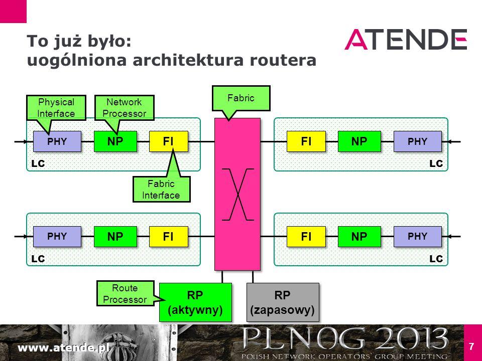 www.atende.pl 18 Robota dla LC CPU: - niektóre pakiety do routera Czasem CPU karty obsługuje pakiety do routera, na przykład: Odpowiedzi na ICMP Echo, pakiety wymagające ICMP unreachable Pakiety z wygasającym TTL ARP, ICMP, BFD, OAM, … LC1 NP 10G PHY TCAM LC CPU RP FI ASIC RP CPU FI