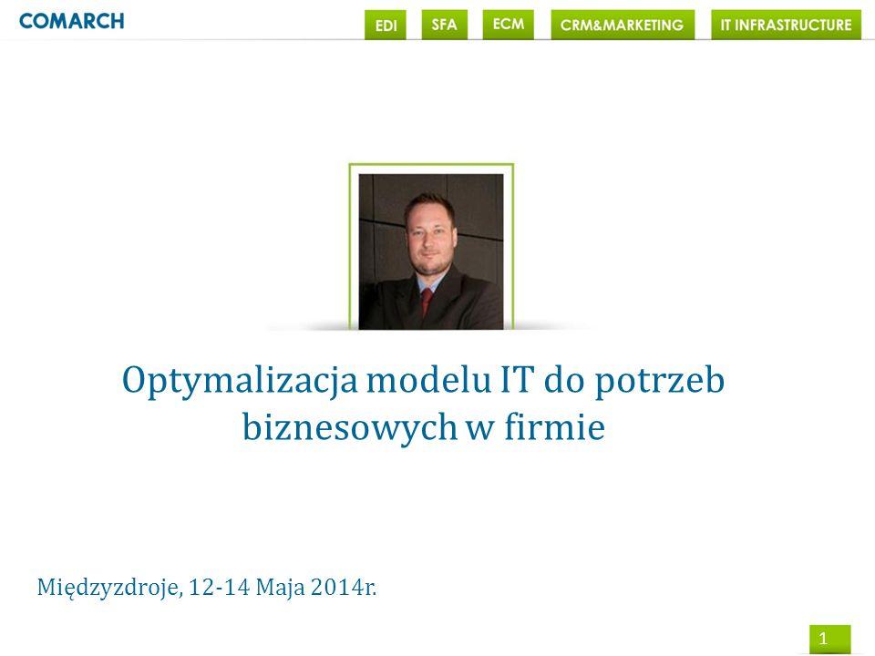 1 Optymalizacja modelu IT do potrzeb biznesowych w firmie Międzyzdroje, 12-14 Maja 2014r.