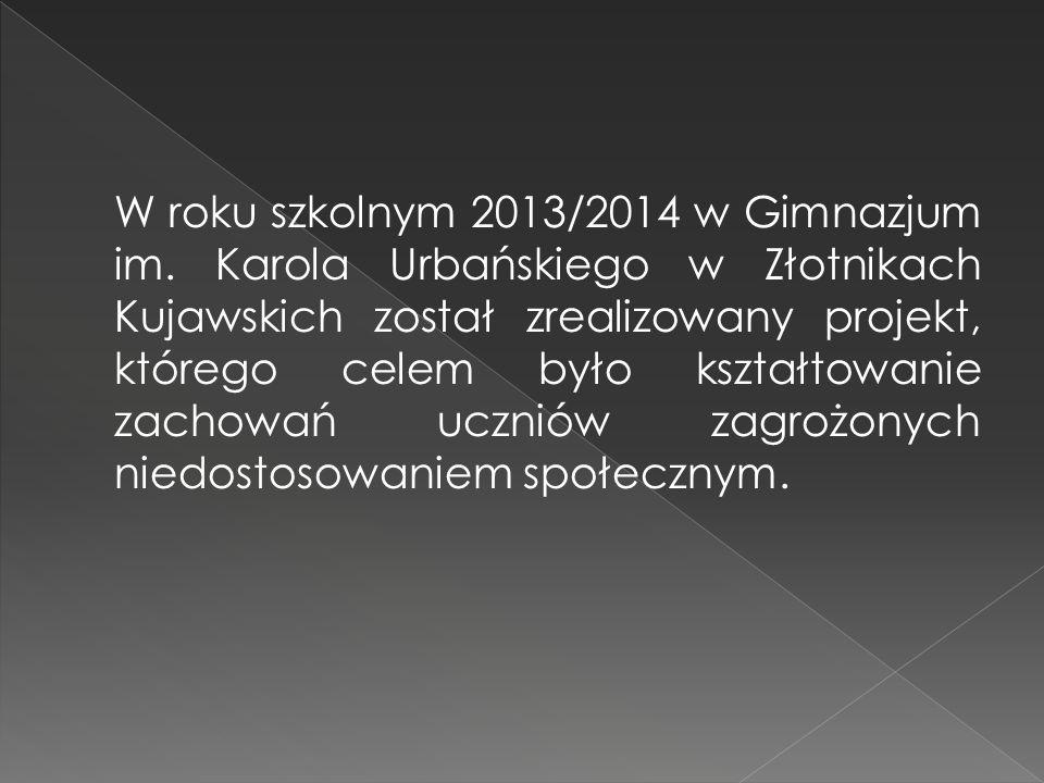 W roku szkolnym 2013/2014 w Gimnazjum im. Karola Urbańskiego w Złotnikach Kujawskich został zrealizowany projekt, którego celem było kształtowanie zac