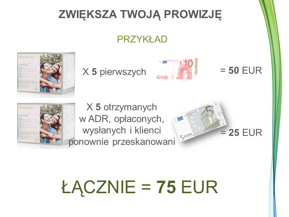 PRZYKŁAD X 5 pierwszych = 50 EUR X 5 otrzymanych w ADR, opłaconych, wysłanych i klienci ponownie przeskanowani = 25 EUR ŁĄCZNIE = 75 EUR ZWIĘKSZA TWOJĄ PROWIZJĘ