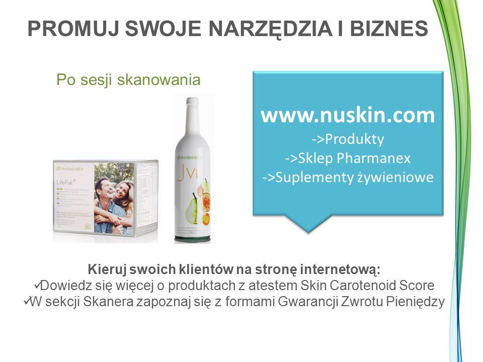 PROMUJ SWOJE NARZĘDZIA I BIZNES Po sesji skanowania www.nuskin.com ->Produkty ->Sklep Pharmanex ->Suplementy żywieniowe Kieruj swoich klientów na stro