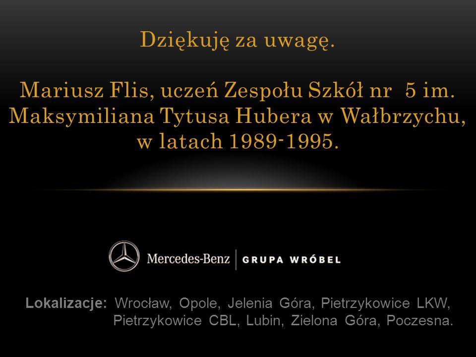 Lokalizacje: Wrocław, Opole, Jelenia Góra, Pietrzykowice LKW, Pietrzykowice CBL, Lubin, Zielona Góra, Poczesna. Dziękuję za uwagę. Mariusz Flis, uczeń