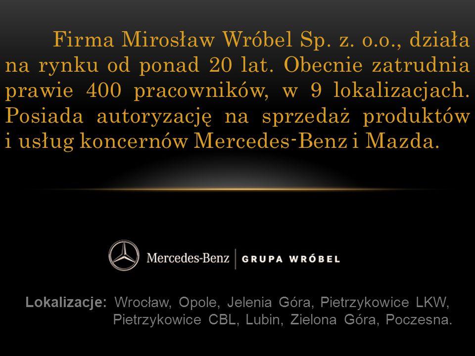 Lokalizacje: Wrocław, Opole, Jelenia Góra, Pietrzykowice LKW, Pietrzykowice CBL, Lubin, Zielona Góra, Poczesna. Firma Mirosław Wróbel Sp. z. o.o., dzi