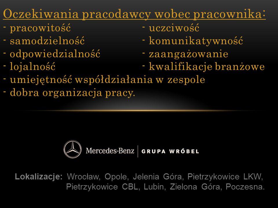 Lokalizacje: Wrocław, Opole, Jelenia Góra, Pietrzykowice LKW, Pietrzykowice CBL, Lubin, Zielona Góra, Poczesna. Oczekiwania pracodawcy wobec pracownik