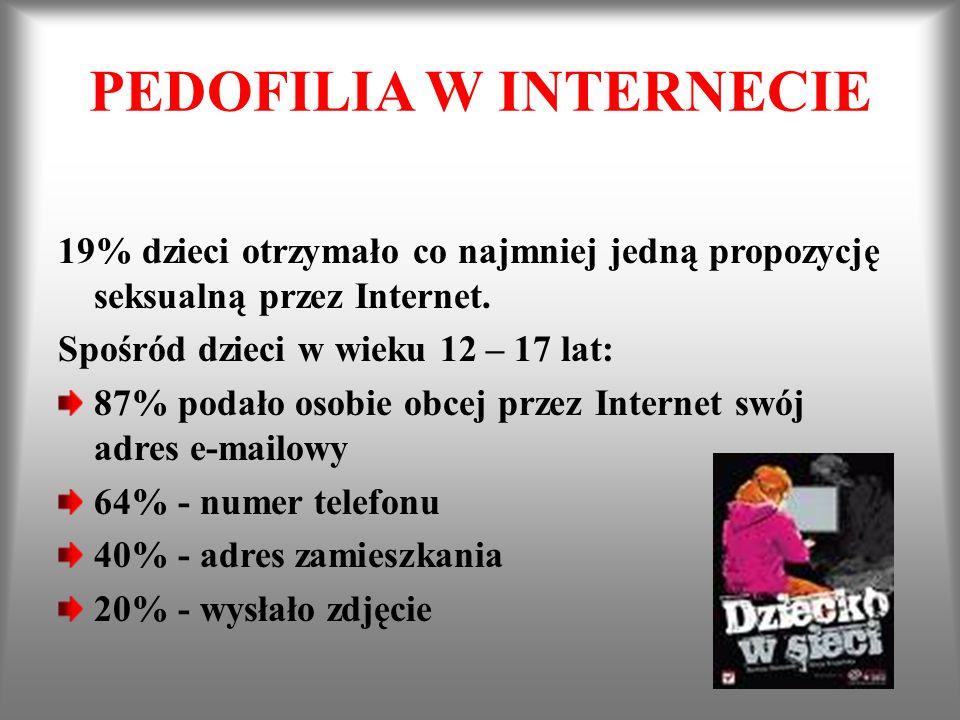 PEDOFILIA W INTERNECIE 19% dzieci otrzymało co najmniej jedną propozycję seksualną przez Internet. Spośród dzieci w wieku 12 – 17 lat: 87% podało osob