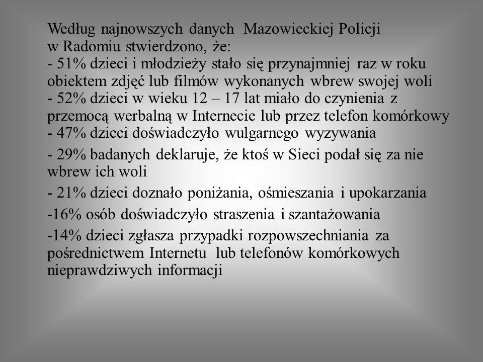 Według najnowszych danych Mazowieckiej Policji w Radomiu stwierdzono, że: - 51% dzieci i młodzieży stało się przynajmniej raz w roku obiektem zdjęć lu