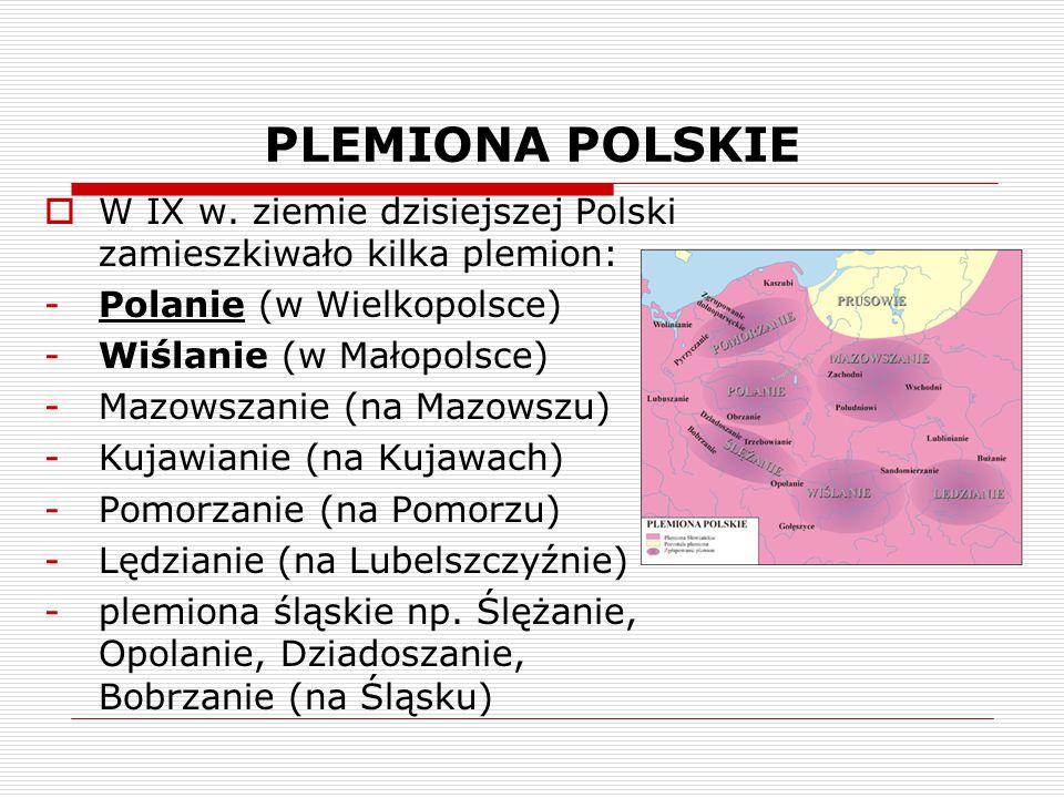 PLEMIONA POLSKIE  W IX w. ziemie dzisiejszej Polski zamieszkiwało kilka plemion: -Polanie (w Wielkopolsce) -Wiślanie (w Małopolsce) -Mazowszanie (na
