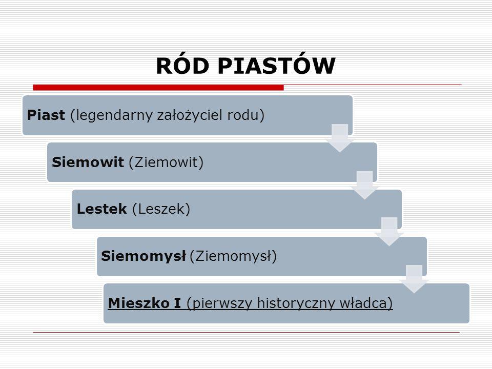 RÓD PIASTÓW Piast (legendarny założyciel rodu)Siemowit (Ziemowit)Lestek (Leszek)Siemomysł (Ziemomysł)Mieszko I (pierwszy historyczny władca)