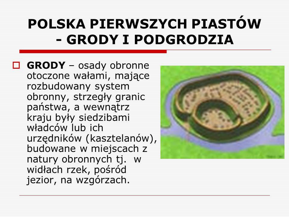 POLSKA PIERWSZYCH PIASTÓW - GRODY I PODGRODZIA  GRODY – osady obronne otoczone wałami, mające rozbudowany system obronny, strzegły granic państwa, a