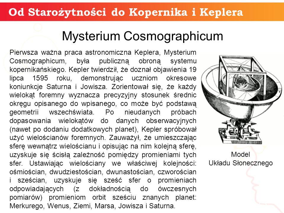 Od Starożytności do Kopernika i Keplera informatyka + 13 Mysterium Cosmographicum Pierwsza ważna praca astronomiczna Keplera, Mysterium Cosmographicum, była publiczną obroną systemu kopernikańskiego.