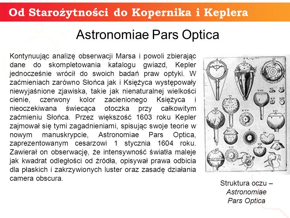Od Starożytności do Kopernika i Keplera informatyka + 14 Astronomiae Pars Optica Kontynuując analizę obserwacji Marsa i powoli zbierając dane do skompletowania katalogu gwiazd, Kepler jednocześnie wrócił do swoich badań praw optyki.