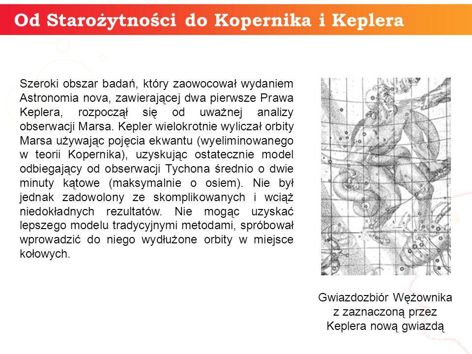 Od Starożytności do Kopernika i Keplera informatyka + 16 Szeroki obszar badań, który zaowocował wydaniem Astronomia nova, zawierającej dwa pierwsze Prawa Keplera, rozpoczął się od uważnej analizy obserwacji Marsa.