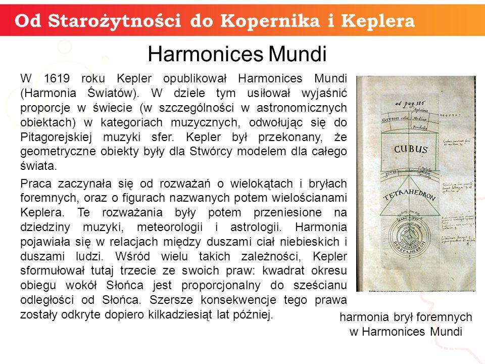 Od Starożytności do Kopernika i Keplera informatyka + 18 Harmonices Mundi W 1619 roku Kepler opublikował Harmonices Mundi (Harmonia Światów).