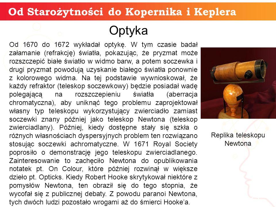 Od Starożytności do Kopernika i Keplera informatyka + 23 Optyka Od 1670 do 1672 wykładał optykę.