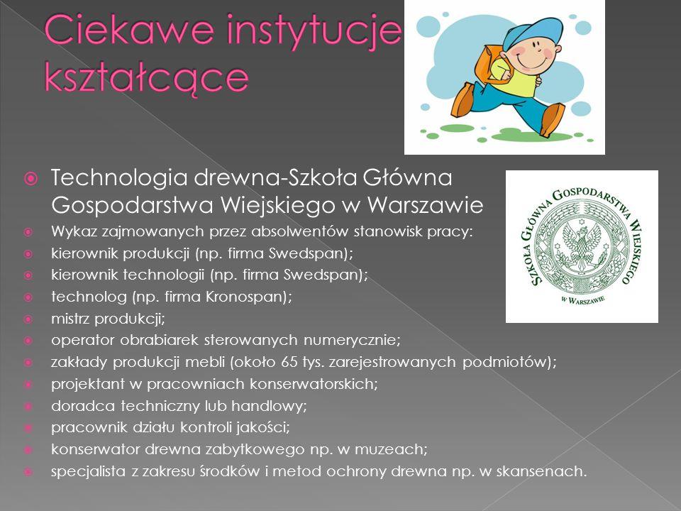  Technologia drewna-Szkoła Główna Gospodarstwa Wiejskiego w Warszawie  Wykaz zajmowanych przez absolwentów stanowisk pracy:  kierownik produkcji (n